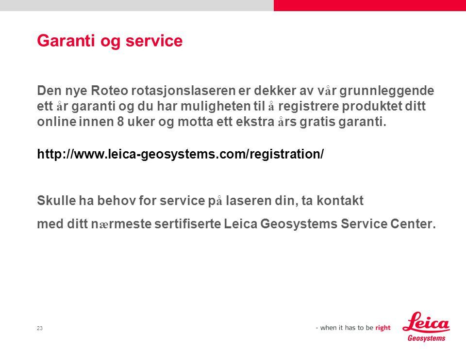 Garanti og service