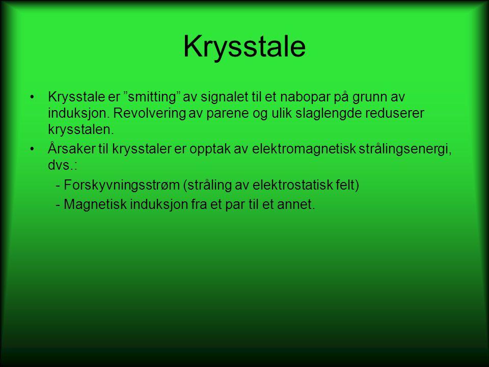 Krysstale Krysstale er smitting av signalet til et nabopar på grunn av induksjon. Revolvering av parene og ulik slaglengde reduserer krysstalen.