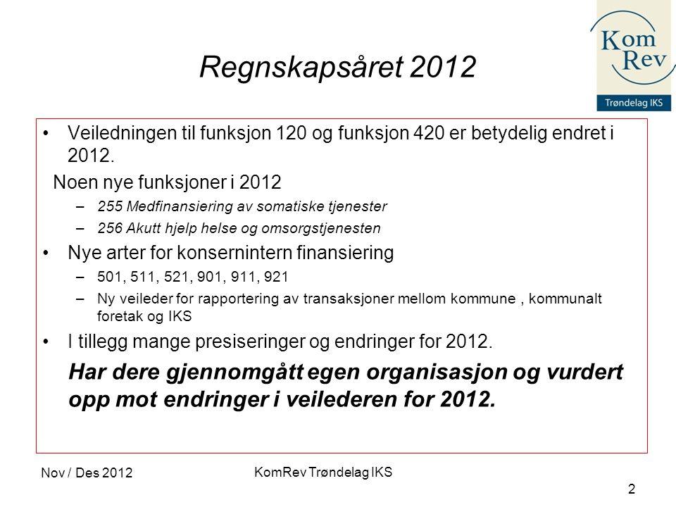 Regnskapsåret 2012 Veiledningen til funksjon 120 og funksjon 420 er betydelig endret i 2012. Noen nye funksjoner i 2012.