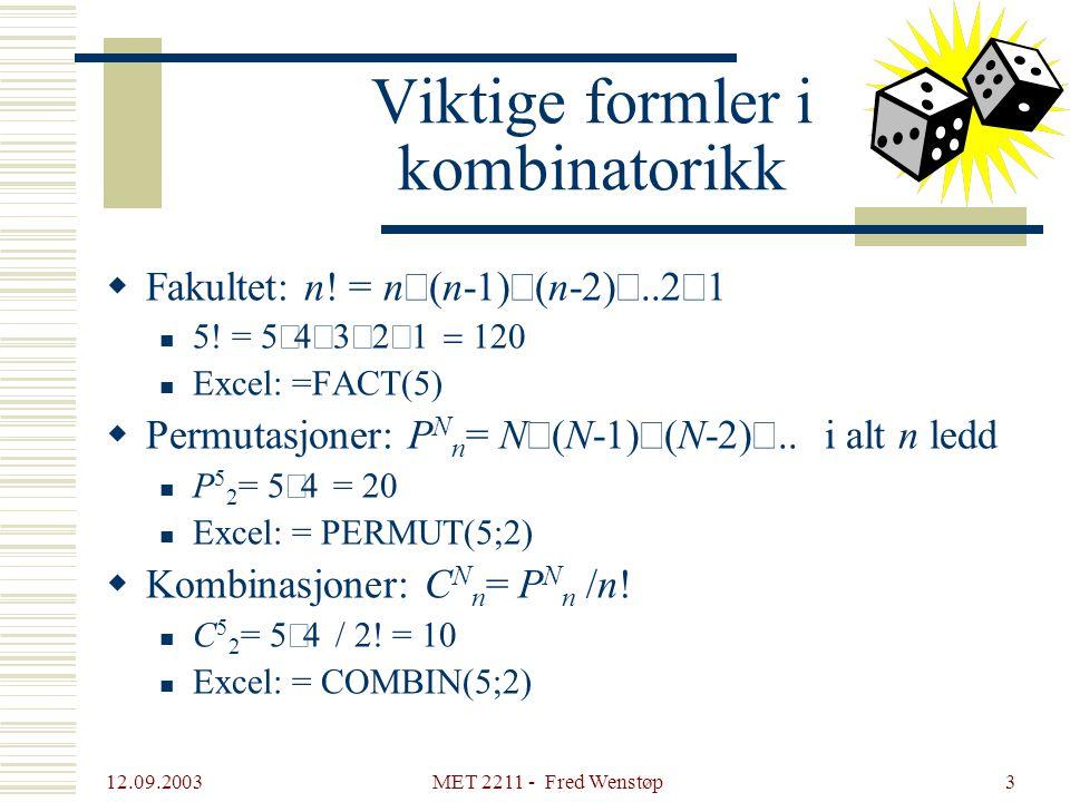 Viktige formler i kombinatorikk