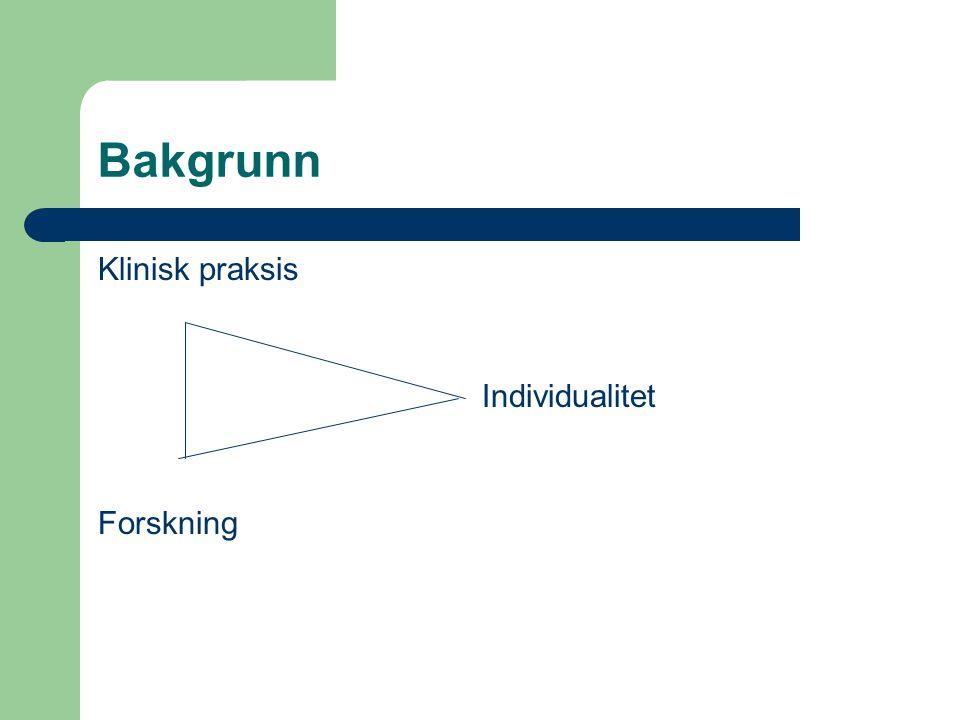 Bakgrunn Klinisk praksis Individualitet Forskning