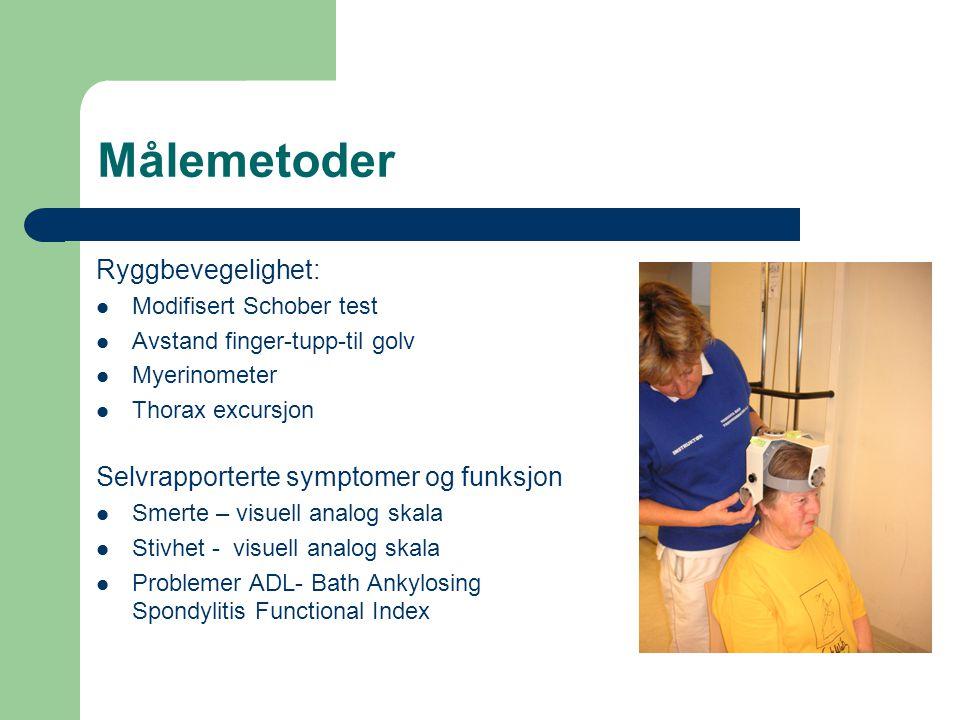 Målemetoder Ryggbevegelighet: Selvrapporterte symptomer og funksjon