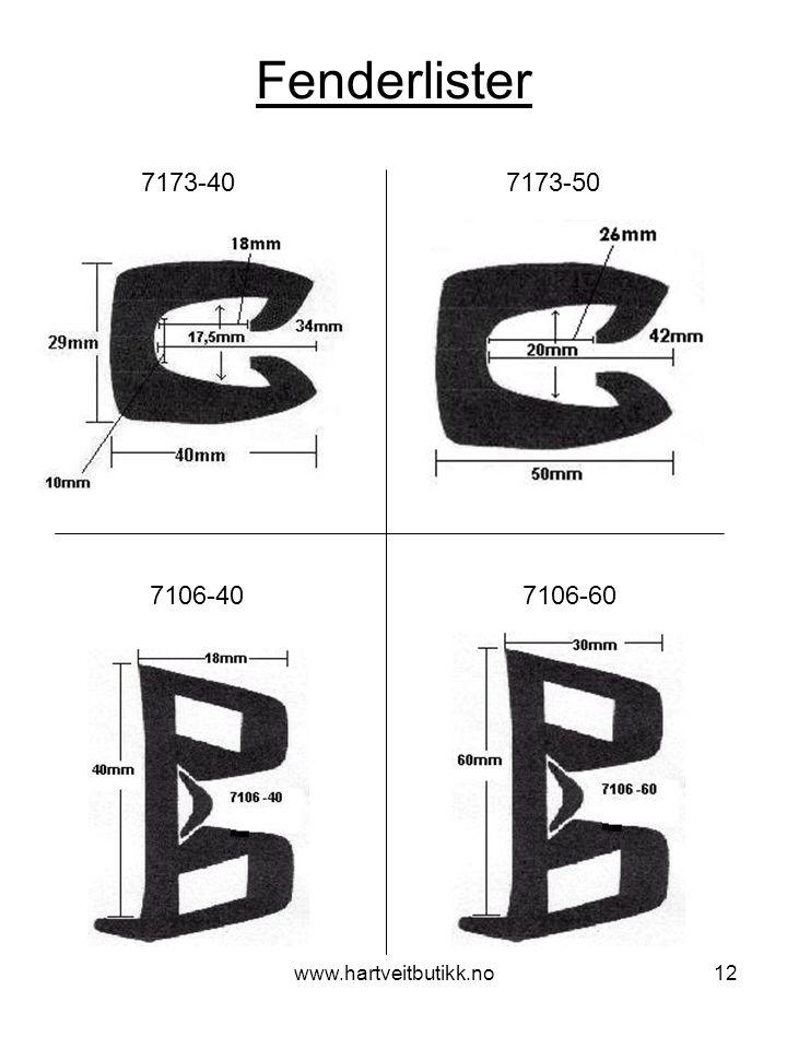 Fenderlister 7173-40 7173-50. 7106-40 7106-60.