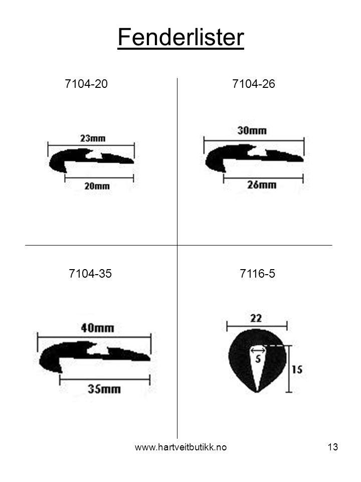 Fenderlister 7104-20 7104-26. 7104-35 7116-5.
