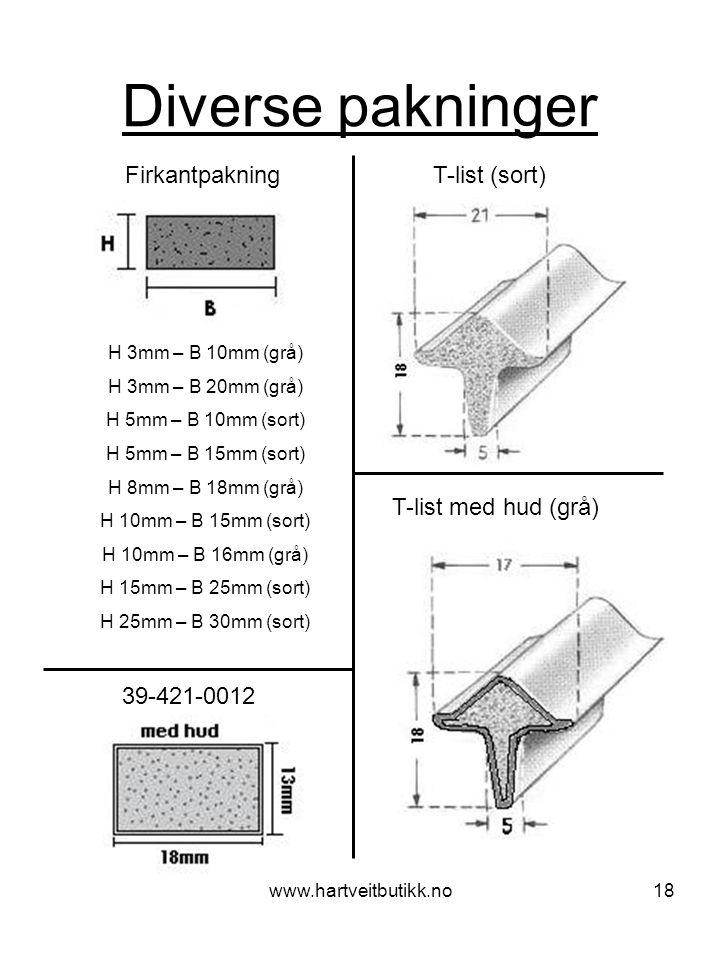 Diverse pakninger Firkantpakning T-list (sort) T-list med hud (grå)