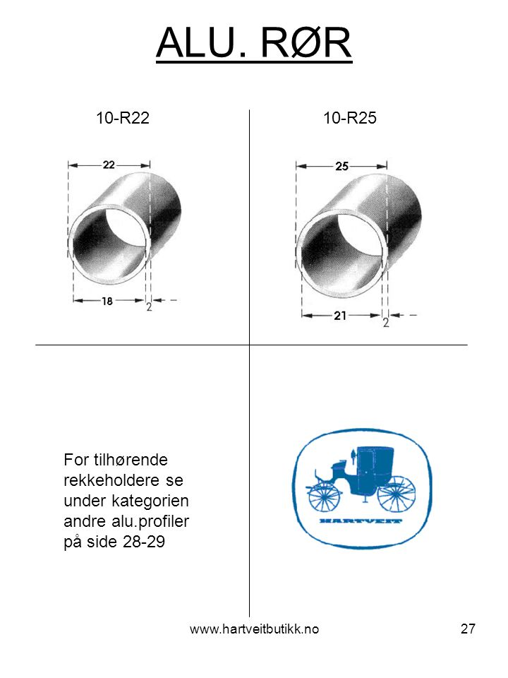 ALU. RØR 10-R22 10-R25. For tilhørende rekkeholdere se under kategorien andre alu.profiler på side 28-29.
