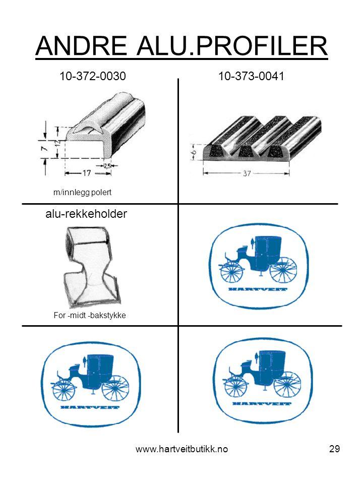 ANDRE ALU.PROFILER 10-372-0030 10-373-0041 alu-rekkeholder