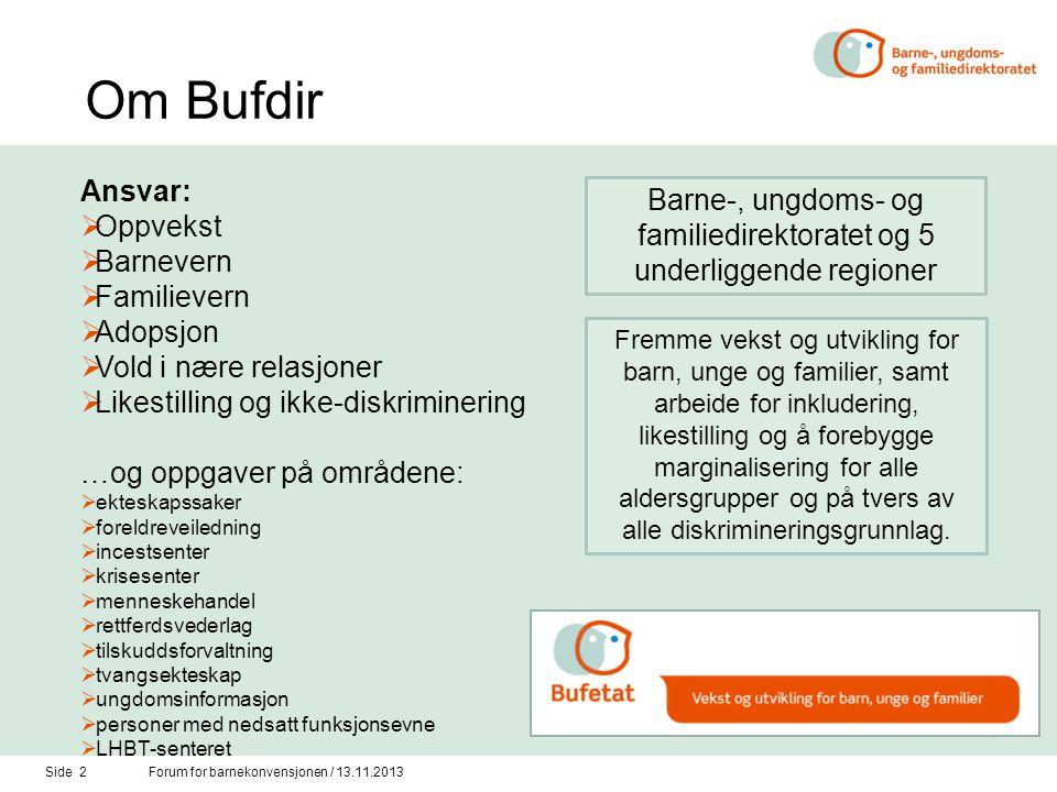 Barne-, ungdoms- og familiedirektoratet og 5 underliggende regioner