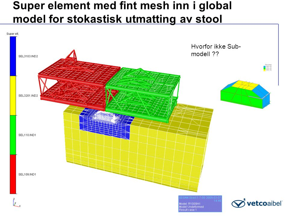 Super element med fint mesh inn i global model for stokastisk utmatting av stool