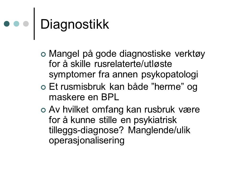 Diagnostikk Mangel på gode diagnostiske verktøy for å skille rusrelaterte/utløste symptomer fra annen psykopatologi.