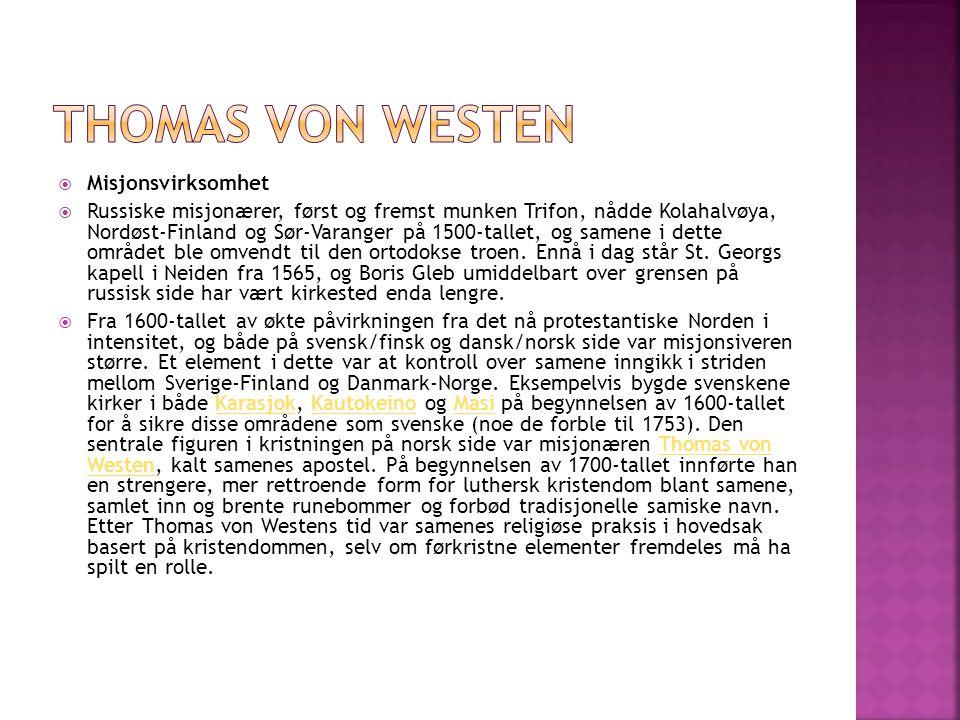 Thomas von Westen Misjonsvirksomhet