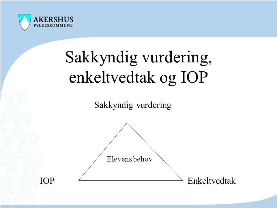 Sakkyndig vurdering, enkeltvedtak og IOP