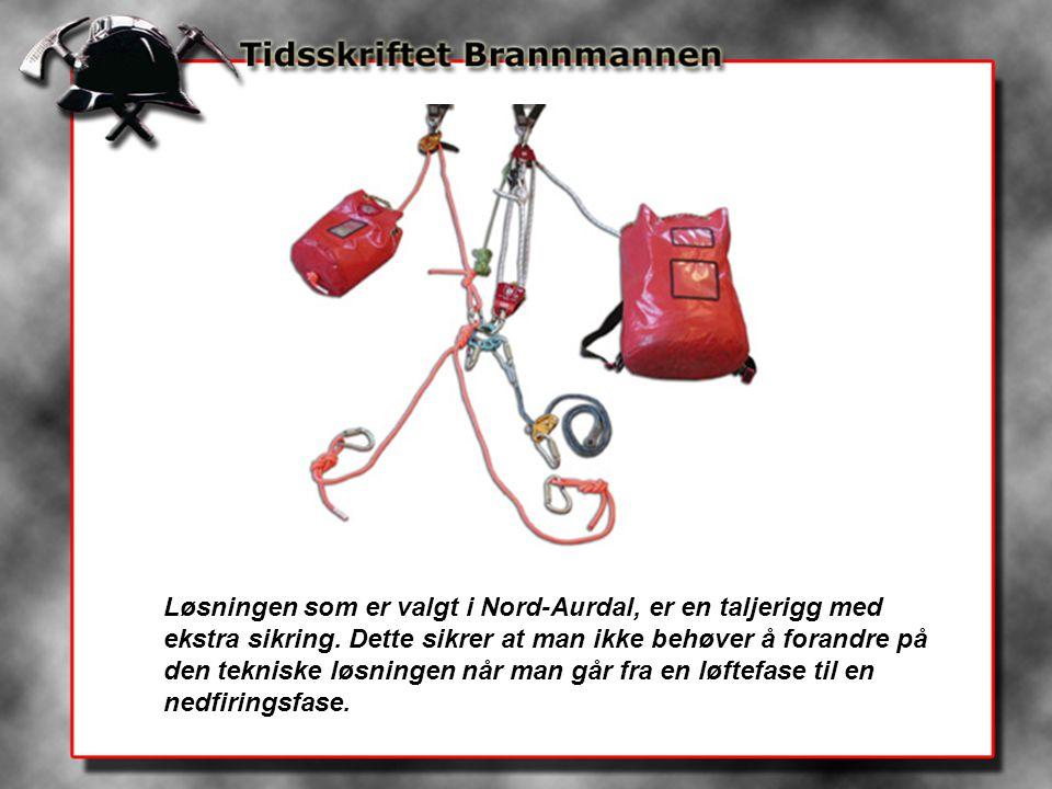 Løsningen som er valgt i Nord-Aurdal, er en taljerigg med ekstra sikring.