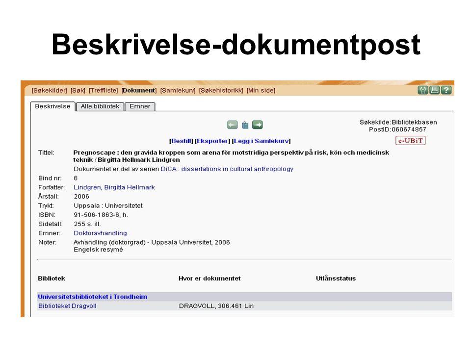 Beskrivelse-dokumentpost