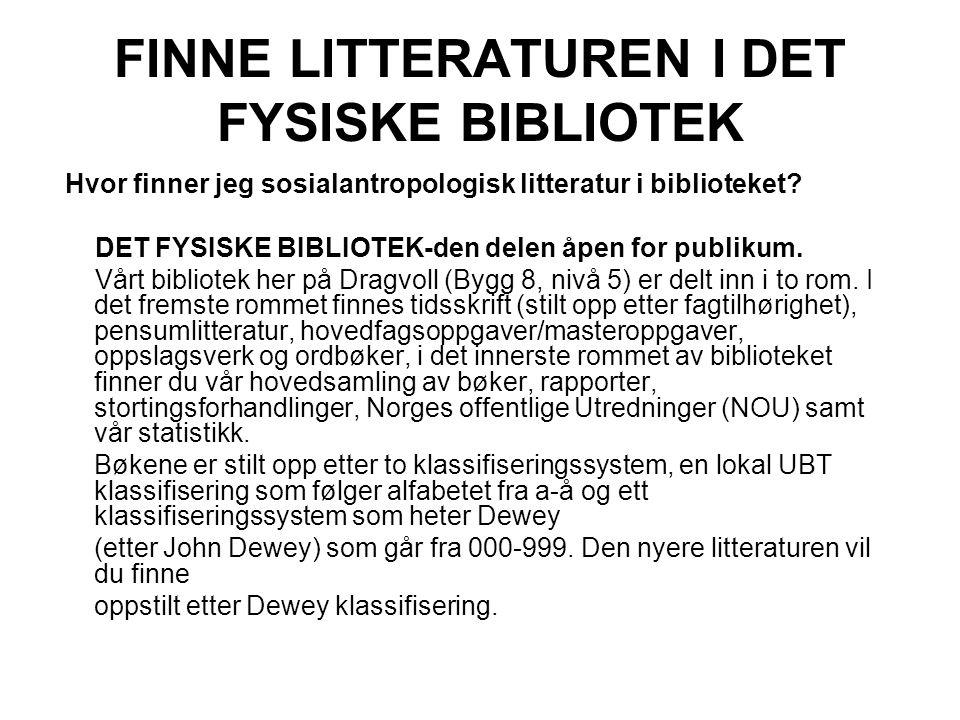 FINNE LITTERATUREN I DET FYSISKE BIBLIOTEK