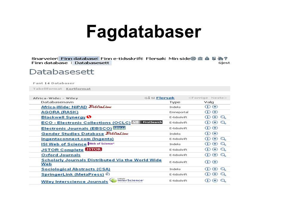 Fagdatabaser