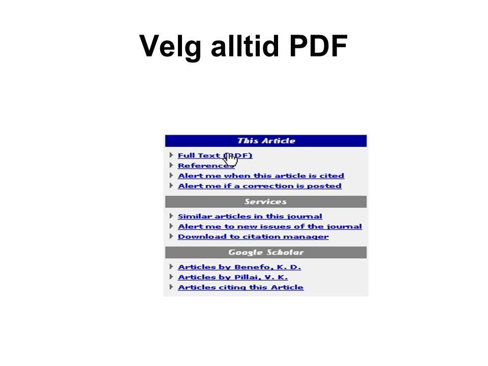 Velg alltid PDF