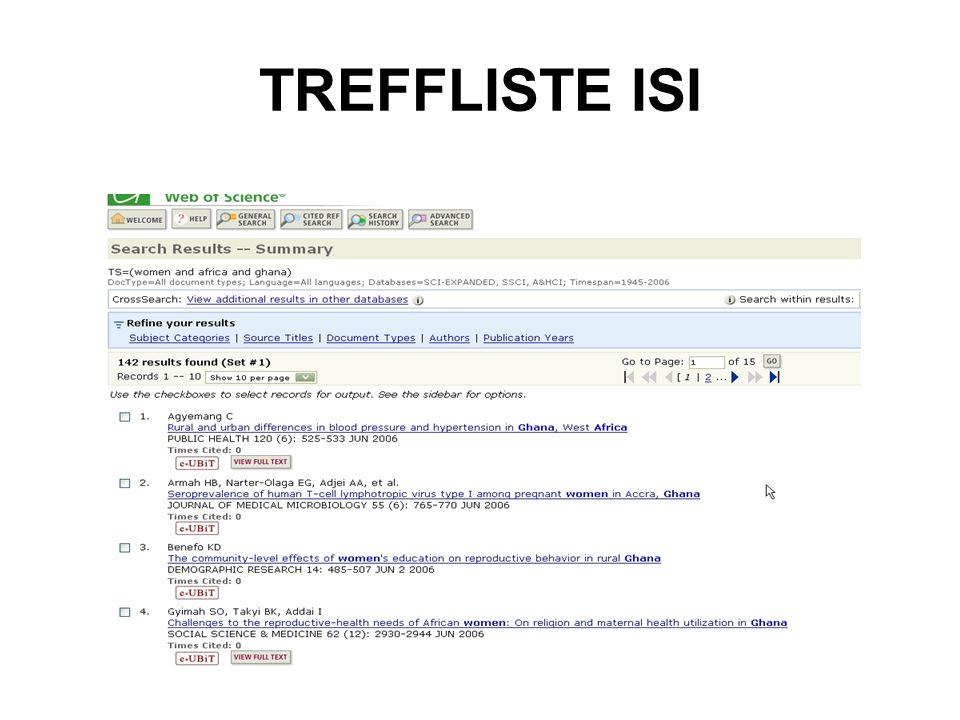 TREFFLISTE ISI