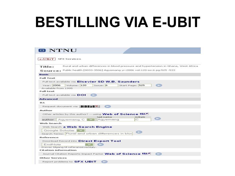 BESTILLING VIA E-UBIT