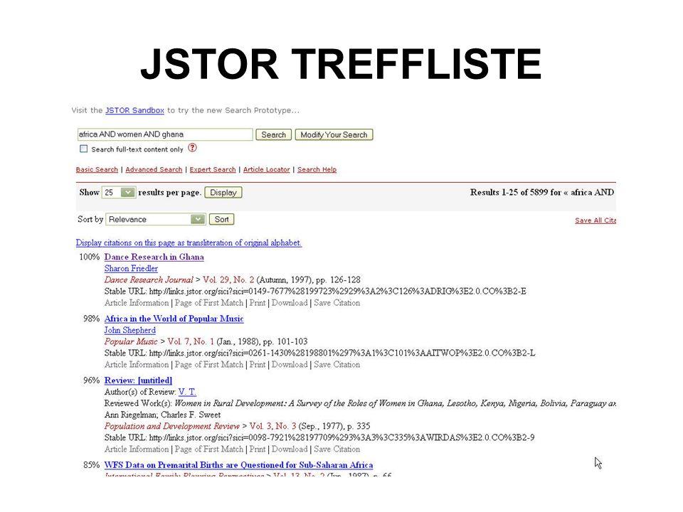 JSTOR TREFFLISTE