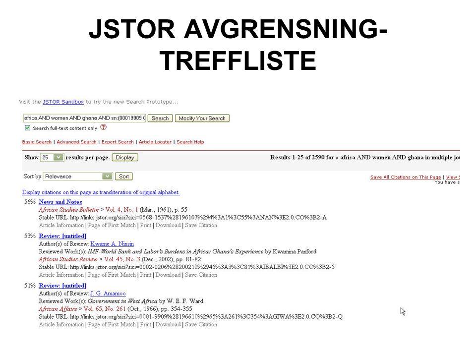 JSTOR AVGRENSNING-TREFFLISTE