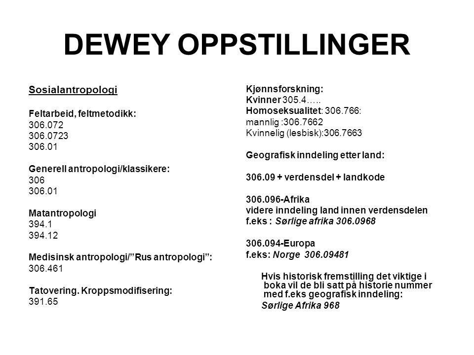 DEWEY OPPSTILLINGER Sosialantropologi Kjønnsforskning: