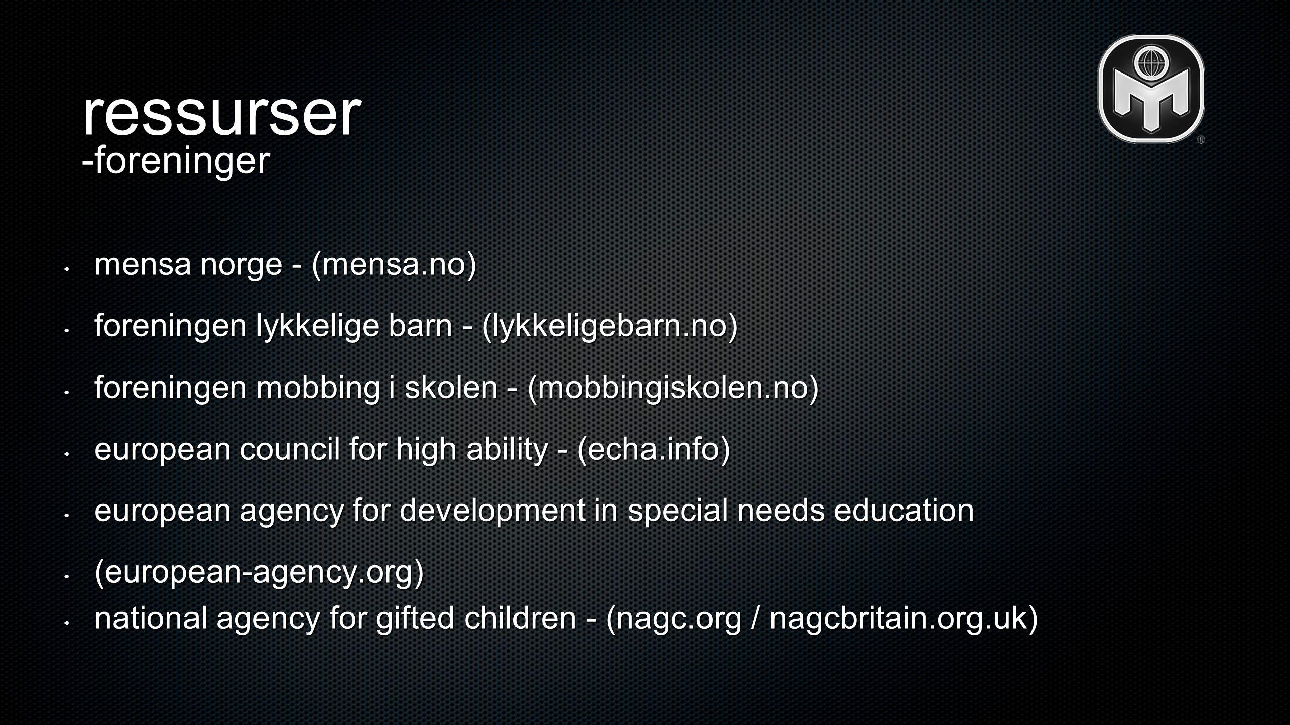 ressurser -foreninger mensa norge - (mensa.no)