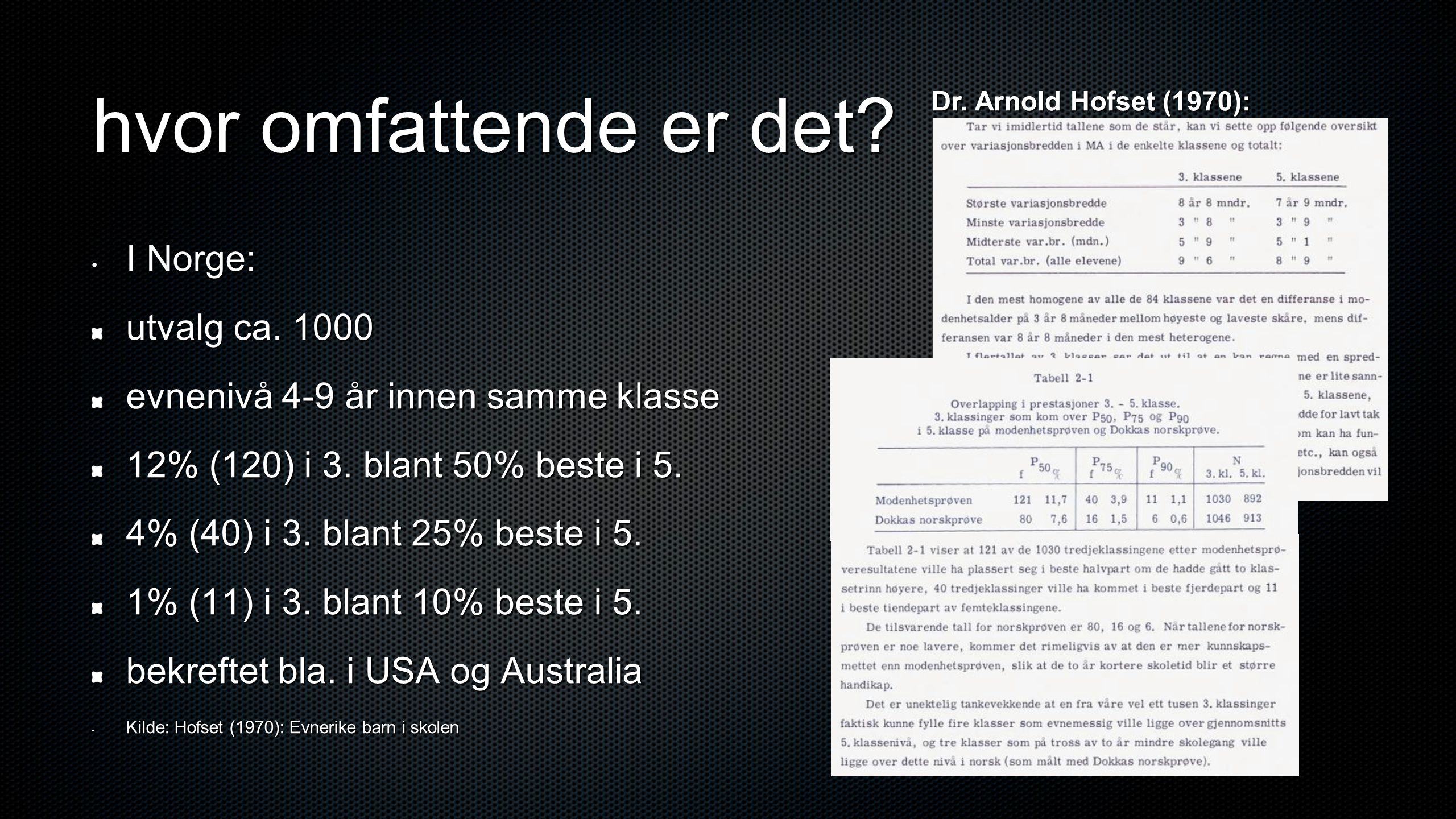 hvor omfattende er det I Norge: utvalg ca. 1000