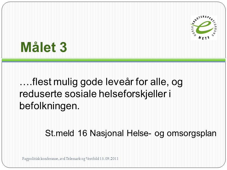 Målet 3 ….flest mulig gode leveår for alle, og reduserte sosiale helseforskjeller i befolkningen.
