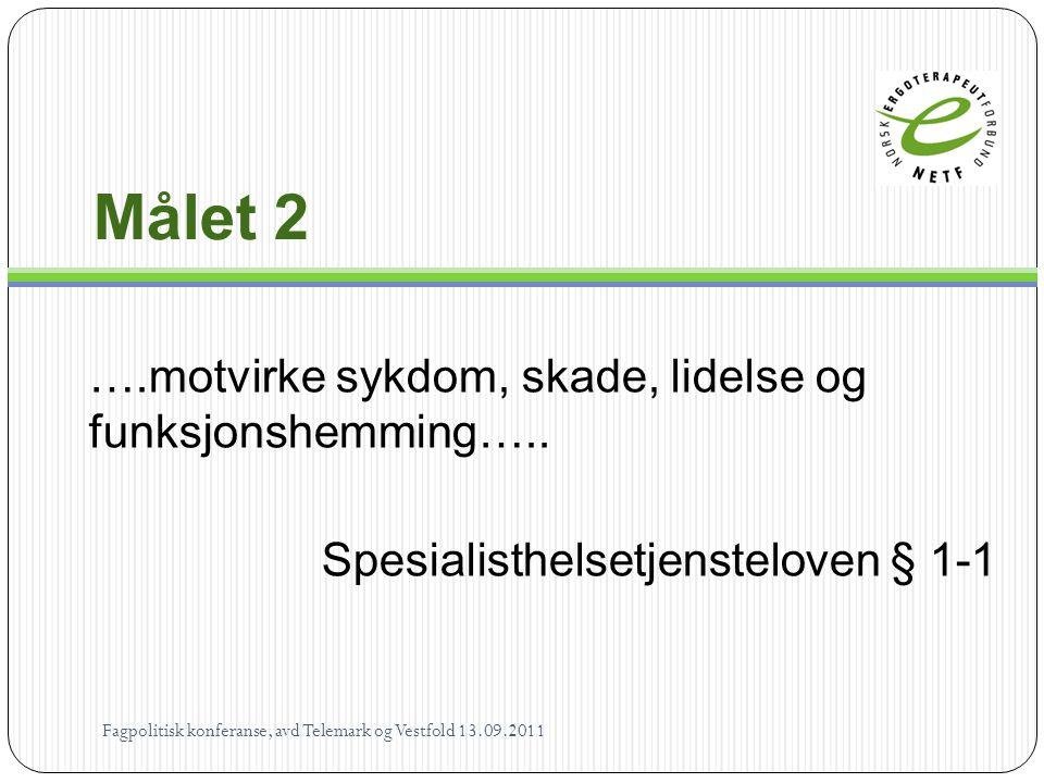 Målet 2 ….motvirke sykdom, skade, lidelse og funksjonshemming…..
