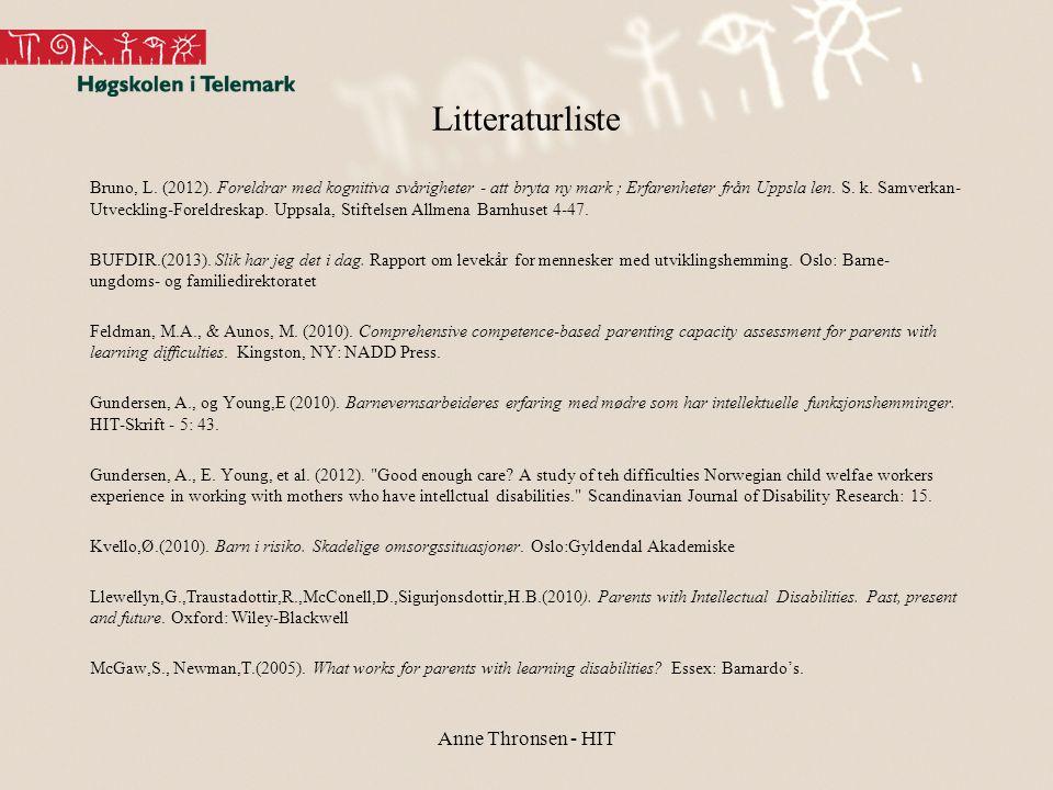 Litteraturliste Anne Thronsen - HIT