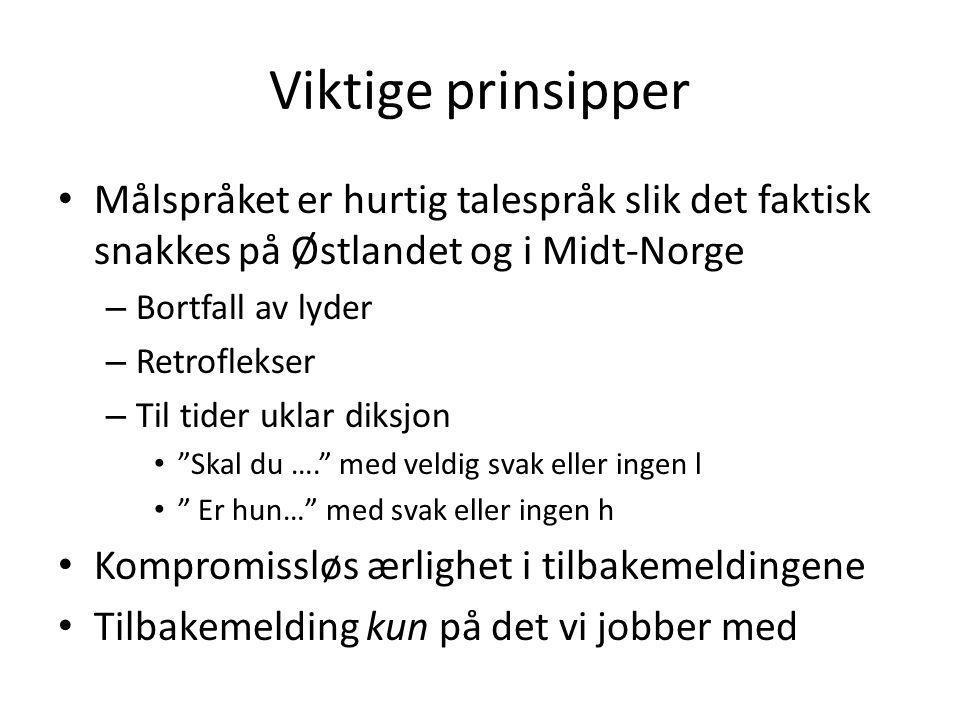 Viktige prinsipper Målspråket er hurtig talespråk slik det faktisk snakkes på Østlandet og i Midt-Norge.
