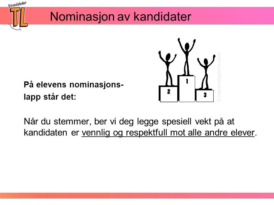 Nominasjon av kandidater