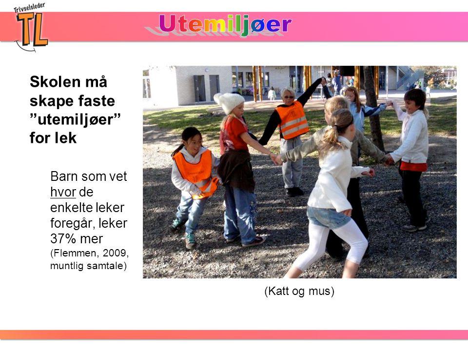 Utemiljøer Skolen må skape faste utemiljøer for lek