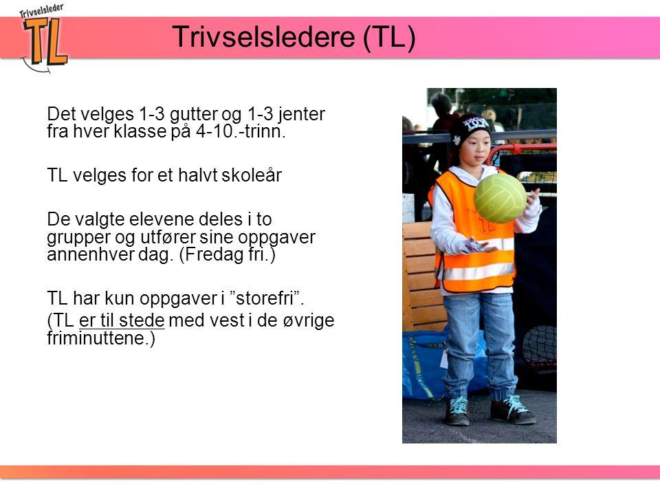 Trivselsledere (TL) Det velges 1-3 gutter og 1-3 jenter fra hver klasse på 4-10.-trinn. TL velges for et halvt skoleår.