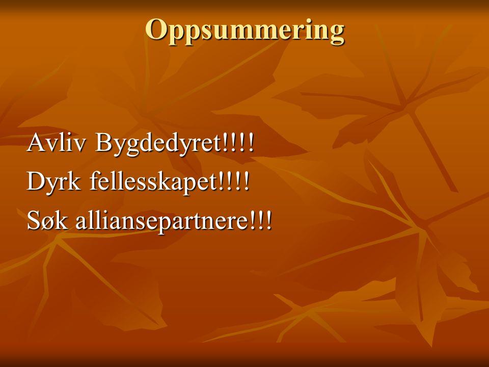 Oppsummering Avliv Bygdedyret!!!! Dyrk fellesskapet!!!!