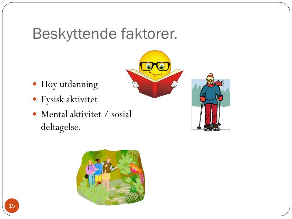 Beskyttende faktorer. ) Høy utdanning Fysisk aktivitet