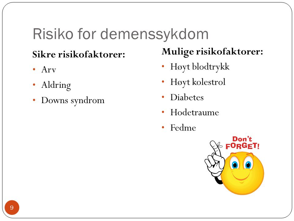 Risiko for demenssykdom