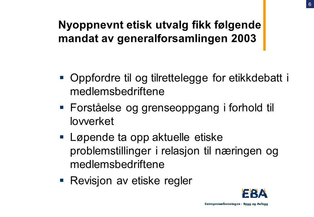 Nyoppnevnt etisk utvalg fikk følgende mandat av generalforsamlingen 2003