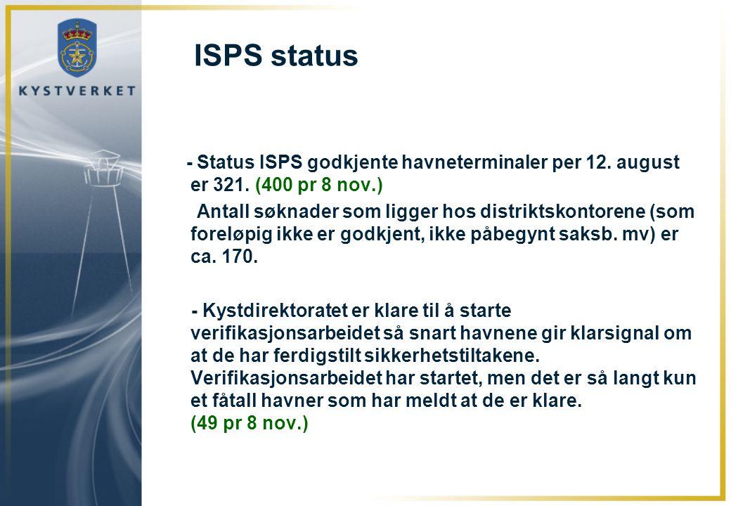 ISPS status - Status ISPS godkjente havneterminaler per 12. august er 321. (400 pr 8 nov.)