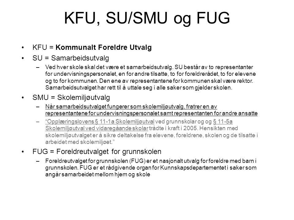 KFU, SU/SMU og FUG KFU = Kommunalt Foreldre Utvalg