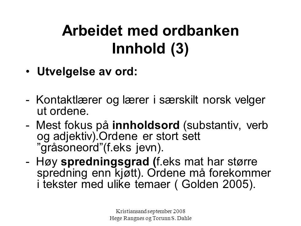 Arbeidet med ordbanken Innhold (3)