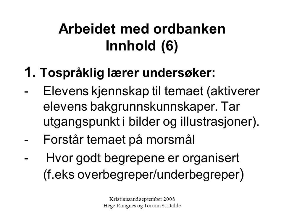 Arbeidet med ordbanken Innhold (6)