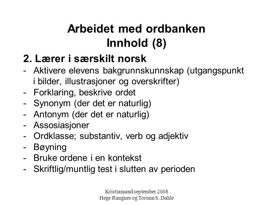 Arbeidet med ordbanken Innhold (8)
