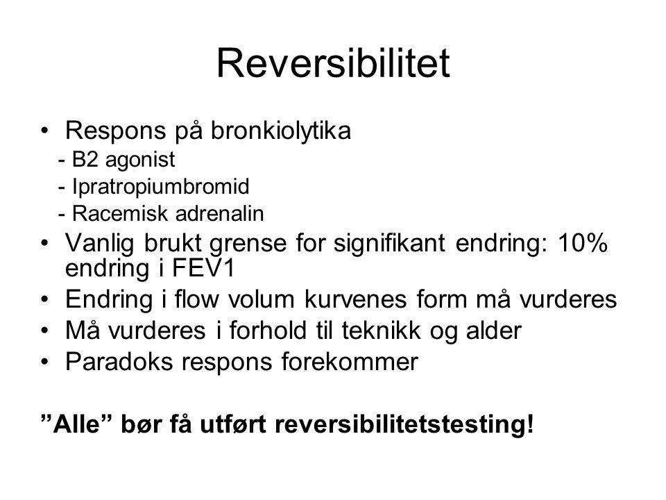 Reversibilitet Respons på bronkiolytika