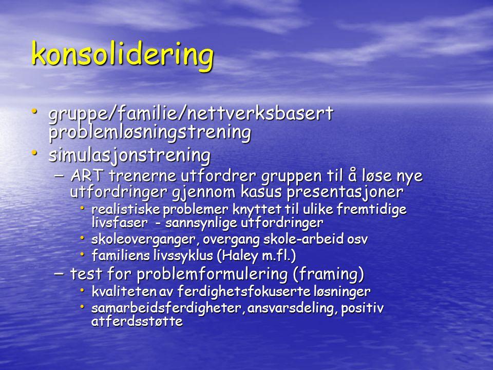 konsolidering gruppe/familie/nettverksbasert problemløsningstrening