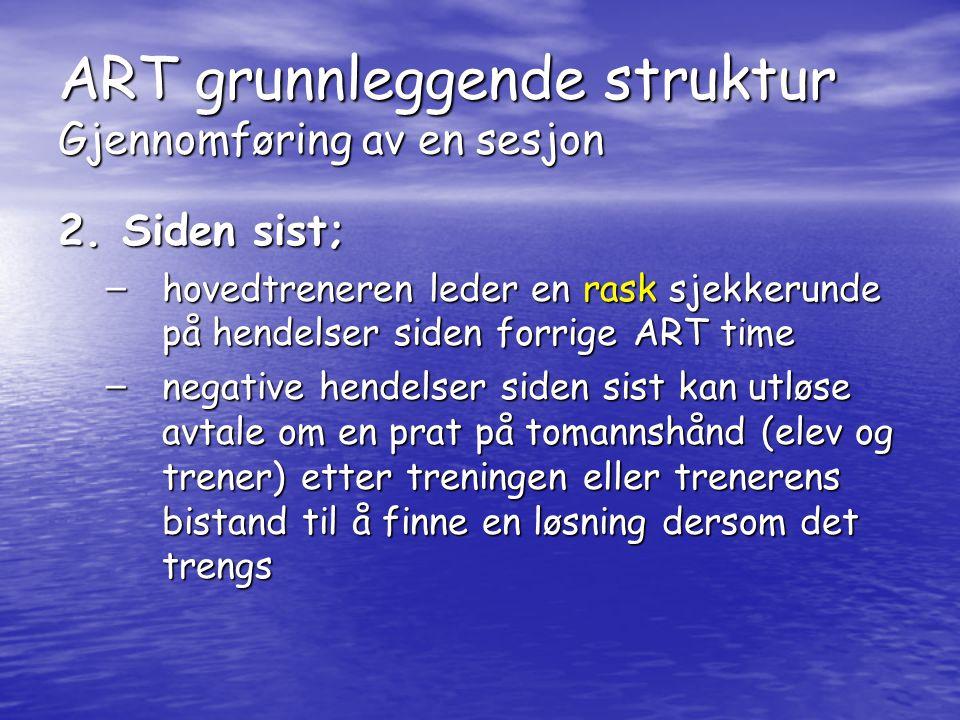 ART grunnleggende struktur Gjennomføring av en sesjon