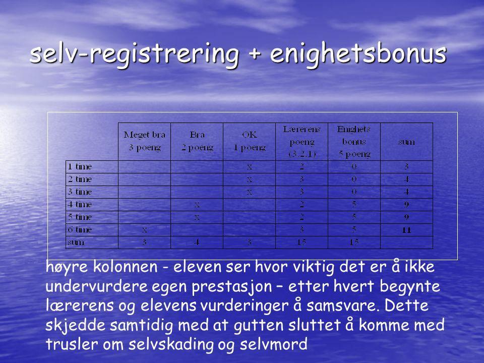 selv-registrering + enighetsbonus