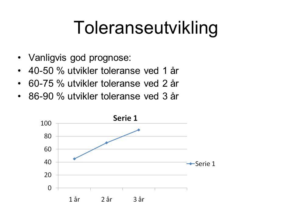 Toleranseutvikling Vanligvis god prognose: