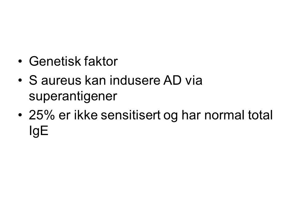 Genetisk faktor S aureus kan indusere AD via superantigener.
